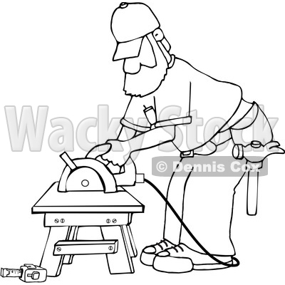 Cartoon Black and White Male Carpenter Working with a Circular Saw © djart #1639880