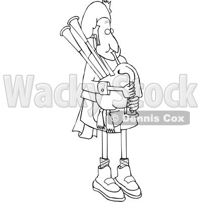Cartoon Black and White Bagpiper in Uniform © djart #1641087
