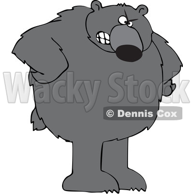 Cartoon Angry Black Bear with Hands on Hips © djart #1641088