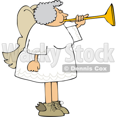 Cartoon Chubby Female Angel Playing a Horn © djart #1641092