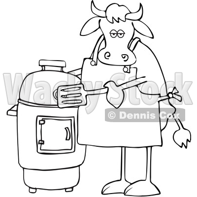 Cartoon Black and White Cow by a Smoker © djart #1642107