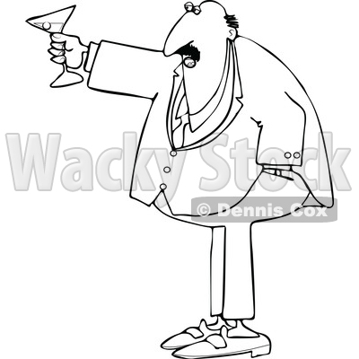 Cartoon Black and White Chubby Businessman Toasting © djart #1644328