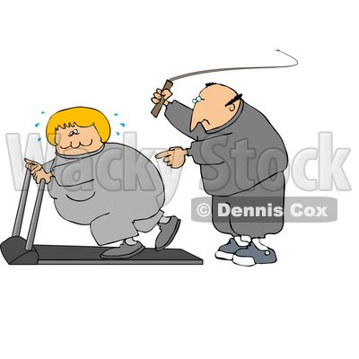 Caucasian Man In Sweats, Swinging A Whip While Telling His Blond Wife To Keep Exercising On A Treadmill Clipart Illustration Graphic © djart #16465
