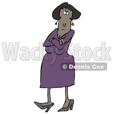Angry African American Woman In A Purple Dress And Heels, Standing With Her Arms Crossed And Tapping Her Foot With A Stern Expression On Her Face Clipart Illustration Graphic © djart #16467