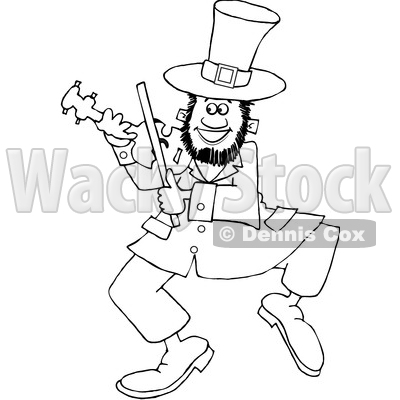 Cartoon Black and White St Patricks Day Leprechaun Playing a Fiddle © djart #1647980
