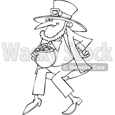 Cartoon Black and White St Patricks Day Leprechaun with a Pot of Gold © djart #1648156