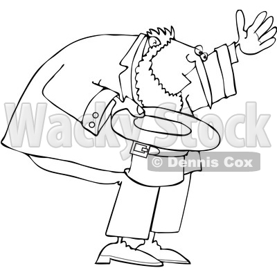 Cartoon Black and White Leprechaun Bowing with His Hat off © djart #1648697