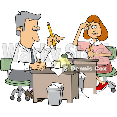 Cartoon Male and Female Accountants Hard at Work © djart #1651136