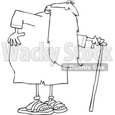 Cartoon Black and White Father Time Holding His Back and Walking with a Cane © djart #1651965