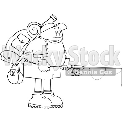 Cartoon Black and White Man Wearing a Backpack with Fishing Gear © djart #1652642