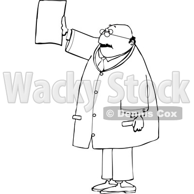 Cartoon Black and White Chubby Male Doctor Reviewing an XRay © djart #1652867