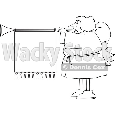 Cartoon Black and White Female Christmas Angel Blowing a Horn with a Banner © djart #1655189