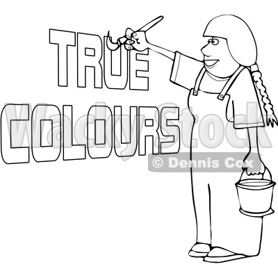 Cartoon Black and White Happy Female Painter Painting True Colors © djart #1655192