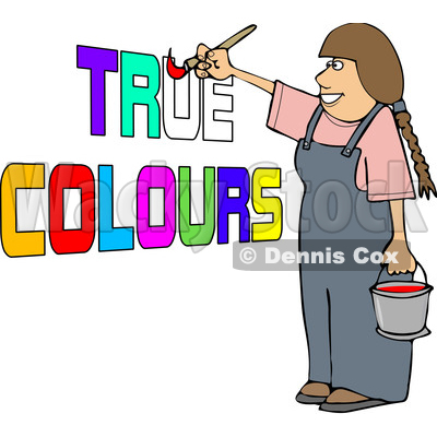Cartoon Happy Female Painter Painting True Colors © djart #1655196