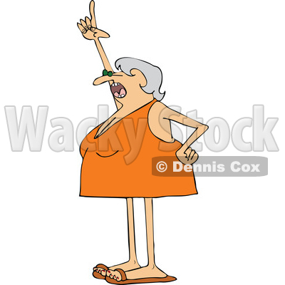 Cartoon Woman Wearing a Swimsuit and Pointing up © djart #1655920