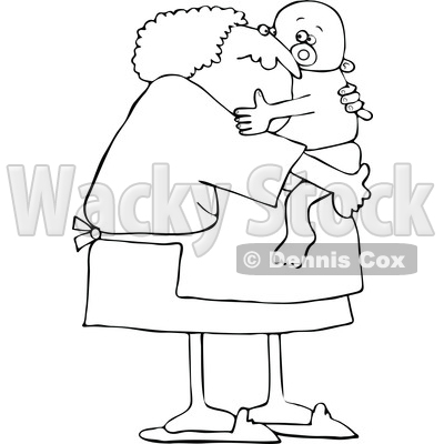 Cartoon Black and White Granny Holding a Baby © djart #1658824
