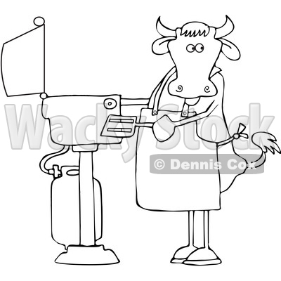 Cartoon Lineart Cow Cooking on a BBQ © djart #1661605
