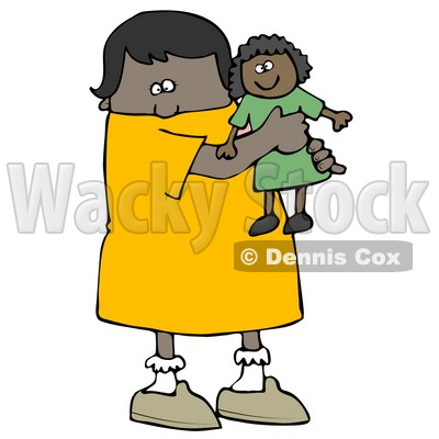 Little African American Girl Child Holding And Hugging Her Doll Toy While Playing Clipart Image Graphic © djart #16617