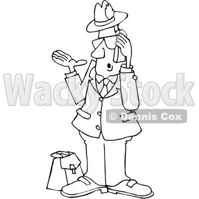 Cartoon Black and White Salesman Talking on a Phone © djart #1666024