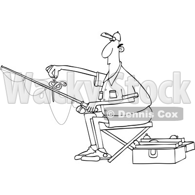 Cartoon Black and White Man Putting a Worm on a Fishing Hook © djart #1666949