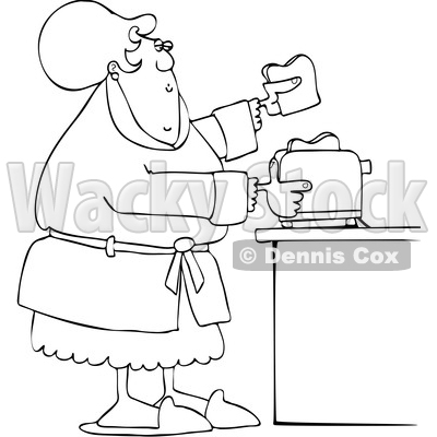 Cartoon Lineart Lady Making Toast © djart #1669141