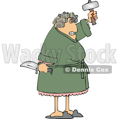 Angry Wife Holding a Knife and Hammer © djart #1688992