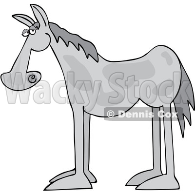 Cartoon Gray Horse in Profile © djart #1690716