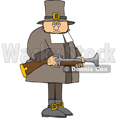 Cartoon Pilgrim Holding a Blunderbuss Rifle © djart #1692065