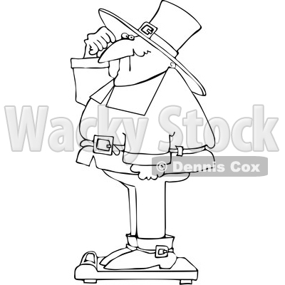 Cartoon Pilgrim Standing on a Scale Showing Holiday Weight Gain After Thanksgiving © djart #1692264