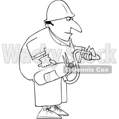 Cartoon Man Using a Fire Extinguisher © djart #1693409