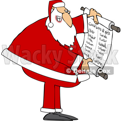Cartoon Santa Claus Reading a Good List © djart #1693813