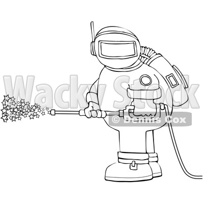 Cartoon Chubby Astronaut Spraying Stars with a Pressure Washer © djart #1694590