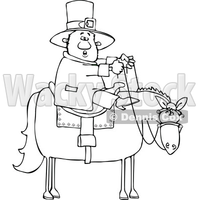 Cartoon Lineart Leprechaun Riding a Horse © djart #1695721