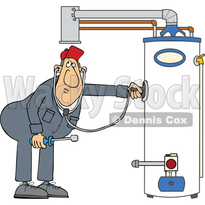 Cartoon Male Plumber Diagnosing a Water Heater © djart #1696514