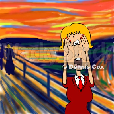 People Clipart Illustration Image of a Stressed Out Blond Caucasian Business Woman Holding Her Hands to Her Cheeks While Screaming, a Humorous Parody of The Scream by Edvard Munch © Dennis Cox #16978