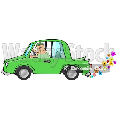 Caucasian Driving A Green Environmentally Friendly Car With Colorful Flowers Flowing Out Of The Muffler Clipart Illustration Image © djart #17000