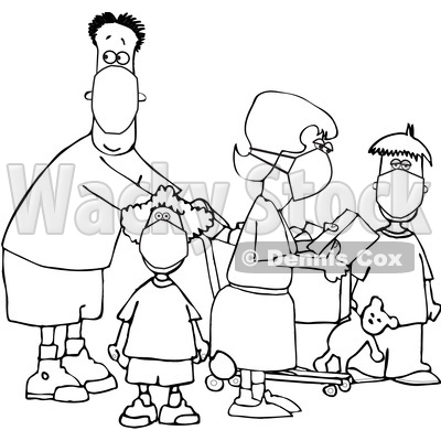 Cartoon Black and White Family Wearing Masks and Shopping During the Covid19 Pandemic © djart #1705740