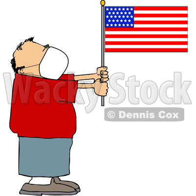 Cartoon Man Wearing a Face Mask and Holding an American Flag © djart #1705747