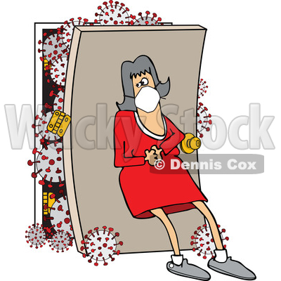 Cartoon Woman Wearing a Mask and Leaning Back Against a Door with Coronavirus © djart #1705757