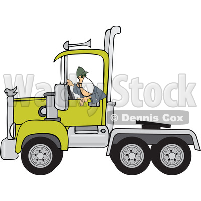 Cartoon Male Trucker Wearing a Mask and Backing up a Truck © djart #1706665