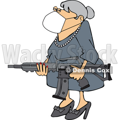Granny Wearing a Face Mask and Holding an Assault Rifle © djart #1708587