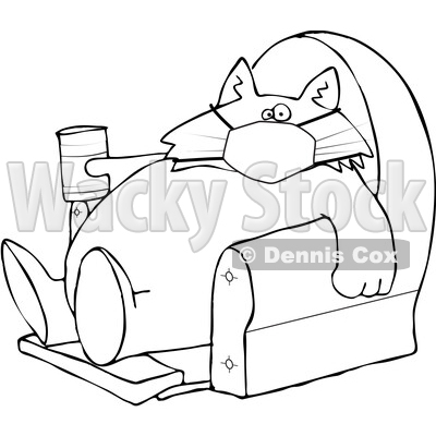 Cartoon Black and White Fat Lazy Cat Wearing a Mask Holding a Glass of Milk and Sitting in a Chair © djart #1712431
