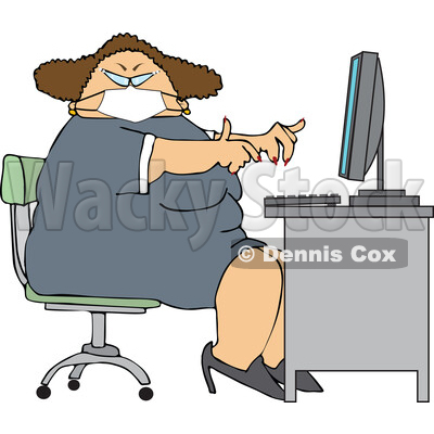 Cartoon Chubby White Woman Wearing a Mask and Working at a Desk © djart #1714311