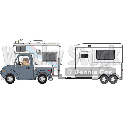 Woman Driving a Pickup Truck with a Camper and Hauling a Horse Trailer © djart #1714417