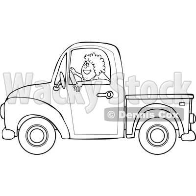 Cartoon Black and White Happy Woman Driving a Pickup Truck © djart #1714542