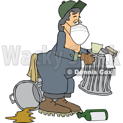 Cartoon Garbage Man Wearing a Mask © djart #1716848