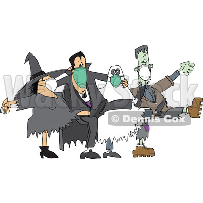Covid Halloween Witch Dracula Vampire Ghost and Frankenstine Wearing Masks and Dancing the Can Can © djart #1717067