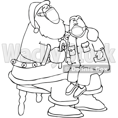 Cartoon Corona Virus Santa Wearing a Mask and Giving a Boy a Candy Cane © djart #1718692
