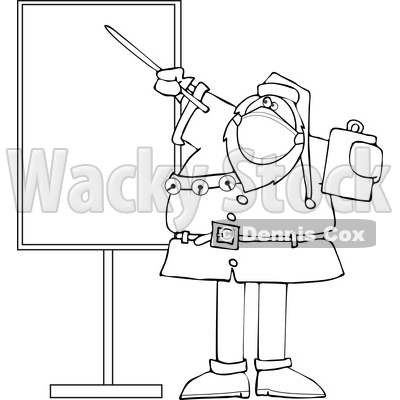 Cartoon Black and White Sauta Wearing a Mask and Pointing to a Board © djart #1719046