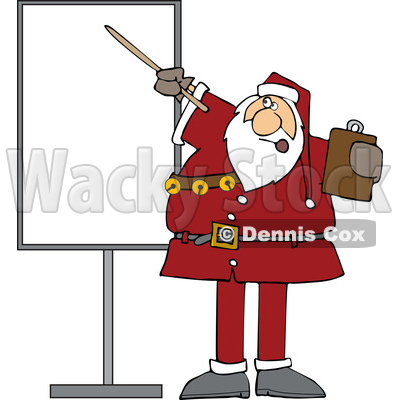 Cartoon Sauta Claus Talking and Pointing to a Board © djart #1719048